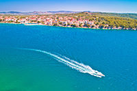 Brodarica village on Adriatic sea aerial waterfront view