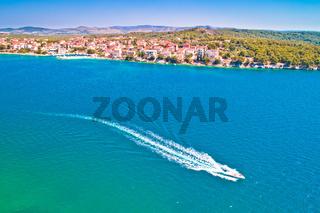 Brodarica village on Adriatic sea aerial waterfront view