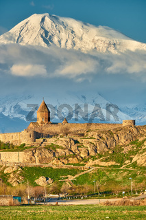 Ancient monastery in front of mountain
