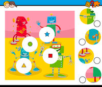match pieces puzzle with robots characters