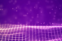 Virtual reality concept: 3D Pink digital wireframe grid with floating particles.