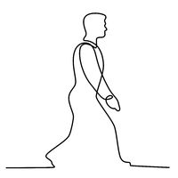 Businessman Walking Continuous Line