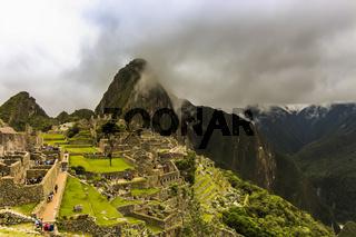 Aerial view of the main citadel ruins of Machu Picchu