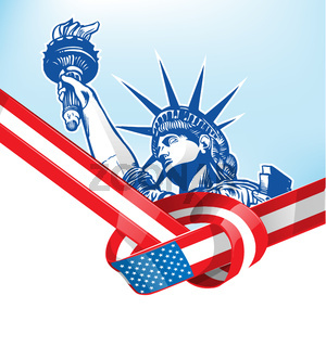 USA flag with statue of liberty. vetcor illustration