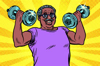 elderly african man lifts dumbbells, fitness sport