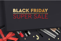 black Friday Super Sale. Black gift box with cosmetics products, top view, design 2020. Vector illustration.