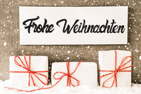 Gifts, Sign, Calligraphy Frohe Weihnachten Means Merry Christmas, Snowflakes