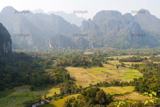 Scenic mountains surrounding Vang Vieng
