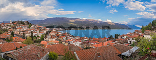Panoramic image of Ohrid town and lake