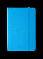 Cyan blue closed notebook isolated on black