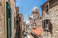 Croatia, city of Sibenik, panoramic view of the old town center and cathedral of St James, most important architectural monument of the Renaissance era in Croatia, UNESCO World Heritage
