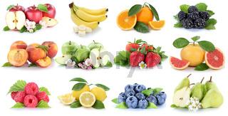 Früchte Frucht Obst Collage frische Apfel Orange Banane Orangen Erdbeere Zitrone Freisteller freigestellt isoliert