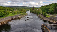 View from the dam wall in Pitlochry to Scottish highlands