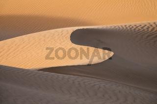 Background with sandy dunes in desert