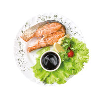 Baked piece of fish, lettuce and sauce on the plate, isolated on white background. Top view