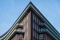 Hamburg, Germany - March 09, 2016: Upper part of famous Chile House 1 under blue sky at day.