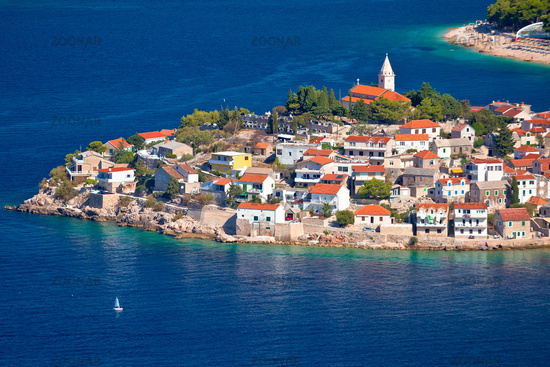 Adriatic tourist destination of Primosten aerial panoramic archipelago view