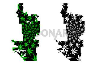 Phoenix city - map is designed cannabis leaf