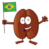 Coffee bean cartoon with brazilian flag