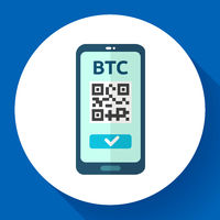 Send bitcoin icon, phone with qr code on screen, cryptocurrency transaction, exchange and transfer technology, vector illustration.