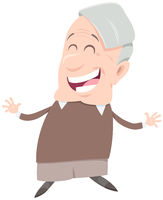 happy senior man character cartoon illustration