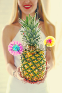Pina colada in pineapple
