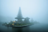 Foggy weather at Pura Ulun Danu Beratan temple in Bali
