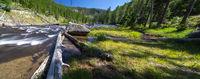 obsidian creek river in yellowstone wyoming