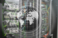 Planet Earth Hologram Globe Global communication World Wide Business concept.