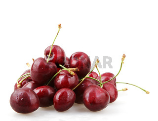 Closeup Of Ripe Cherry On White Background