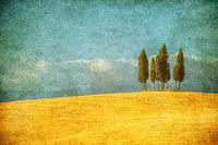 Vintage image of typical Tuscany landscape, Italy