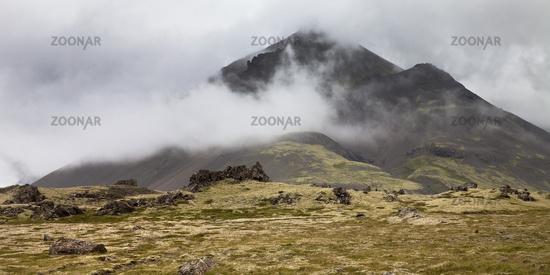 Clouds on the mountain Krákshamarsfjall, Southeast Iceland, Iceland, Europe