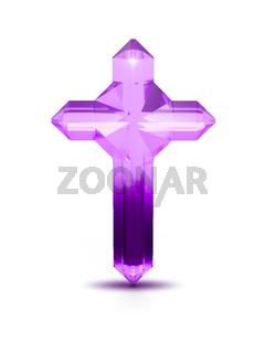 Purple crystal cross religious symbol on white background