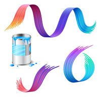 Open metal can of blue paint with rainbow paint strokes set