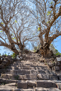 Old stairs at Wat Phou temple, Laos