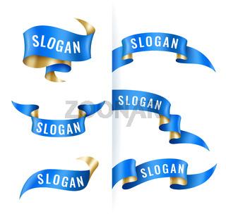 Vintage blue and gold ribbons set, banner template, design elements