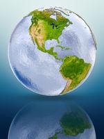 Belize on globe