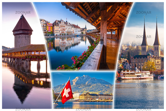 Swiss town of Luzern or Lucerne landmarks tourist postcard view