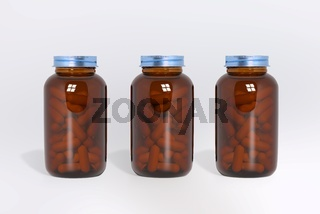 Blank glass medical bottles with tablets pills