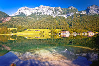 Hintersee lake in Berchtesgaden Alpine landscape mirror view