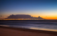 Night view of Table Mountain and Cape Town, South Africa