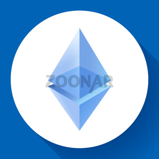 Etherium icon, crypto currency mining, blockchain technology, cryptocurrency trading, vector illustration.