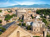 Colosseum and basilica in Rome