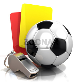 Football concept. Penalty (red and yellow) card, metal whistle and soccer (football) ball, isolated 3D