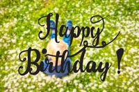 Blonde Child, Daisy Flower, Calligraphy Happy Birthday