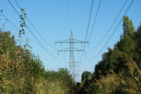 overhead power cable or transmission line