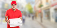 Pizza delivery latin man boy order delivering job deliver box young town banner copyspace copy space