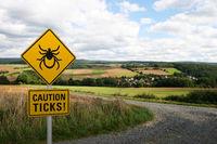 Warning sign Caution ticks