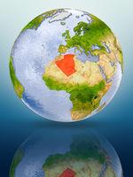 Algeria on globe