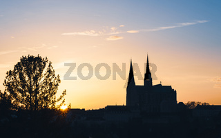Chartres Cathedral at sunset, France